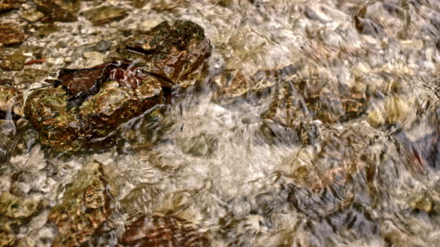DS-klarem Wasser läuft über die Felsen im stream