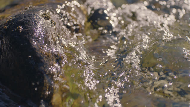 cu slo mo. clear water runs and splashes against rocks. - moss stock videos & royalty-free footage