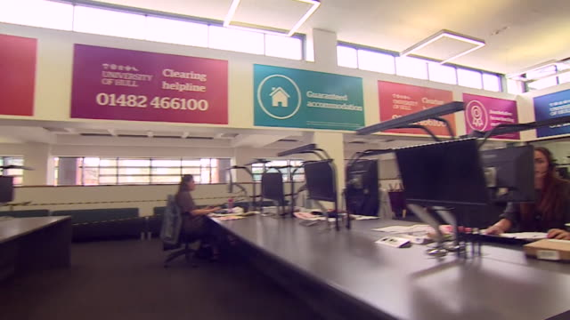 clearing helpline in hull for students who didn't get their grades trying to get into university, after exams were cancelled due to coronavirus... - customer service representative stock videos & royalty-free footage