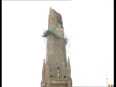 glasgow la gv damaged steeple of st stephen's church which collapsed in high wind gv church with hole in roof - steeple stock videos & royalty-free footage