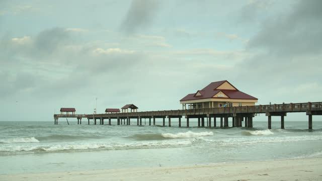 clearwater beach boardwalk - winter stock videos & royalty-free footage