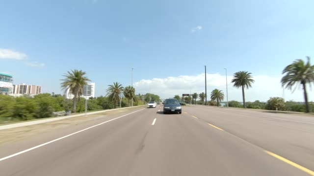 clearwater beach iii synced series rear view driving process plate - parte di una serie video stock e b–roll