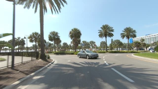 clearwater beach v synced series rear view driving process plate - car point of view stock videos & royalty-free footage