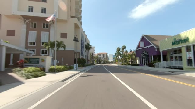 clearwater beach vii synced series rear view driving process plate - parte di una serie video stock e b–roll