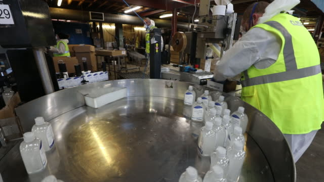 cleenol group ltd hand sanitizing gel production at factory in banbury, oxfordshire, uk on friday, march 6, 2020. - plant stock videos & royalty-free footage