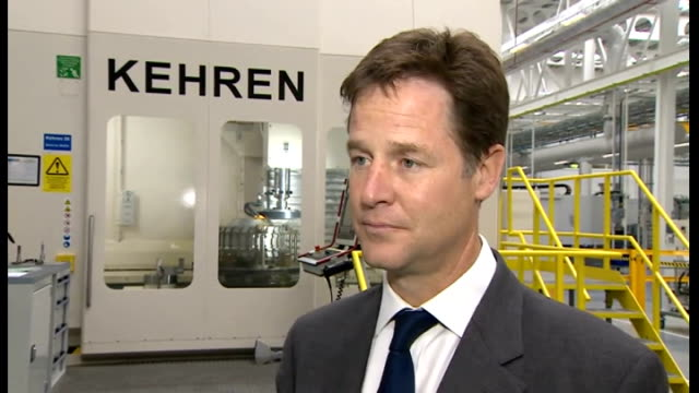 stockvideo's en b-roll-footage met clegg and cable visit rolls royce aerospace factory england tyne and wear washington rolls royce aerospace int nick clegg mp interview sot talks of... - tyne and wear