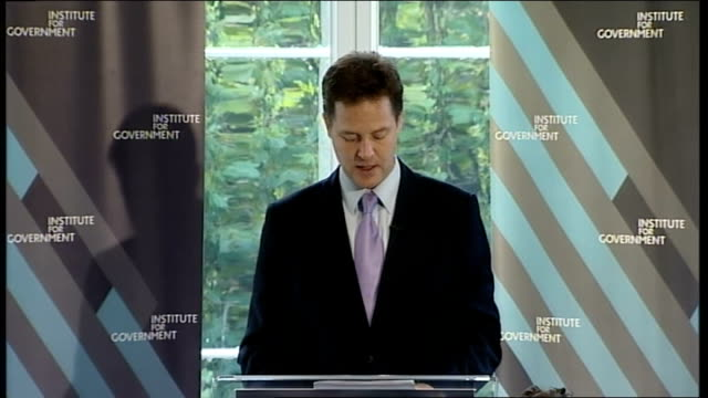 clegg outlines changes in the way the coalition will goven clegg speech england london institute of government int nick clegg mp speech sot... - office politics stock videos & royalty-free footage