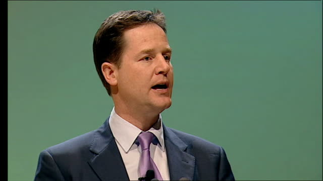 clegg speech to scottish liberal democrats conference unlike our friends in the labour party you'd think that a party leaving behind the largest... - social history stock videos & royalty-free footage