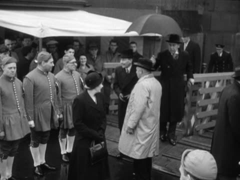 clement attlee and his wife board the new london water bus festival at charing cross pier - charing cross stock videos and b-roll footage
