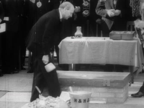 clement attlee lays the foundation stone of the royal festival hall at the festival of britain site on the south bank - festival of britain stock videos & royalty-free footage