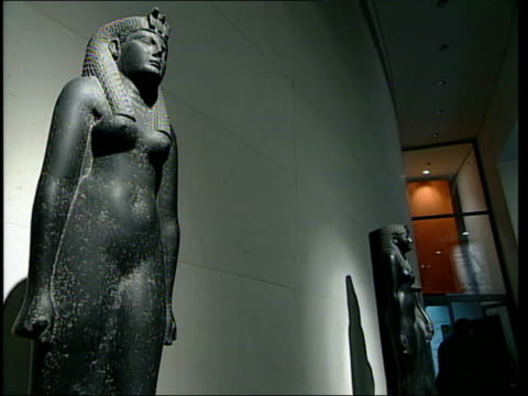 london british museum int sculptures of head of cleopatra sallyann ashton interview sot i remember curator pulling her off the shelf and saying 'i... - ancient stock videos & royalty-free footage