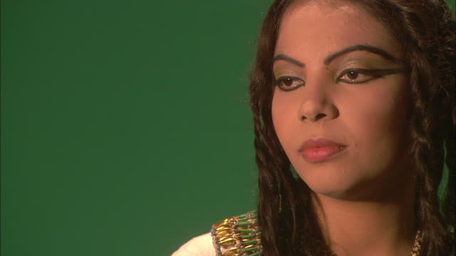 cleopatra poses in front of a green screen. - cleopatra stock videos & royalty-free footage