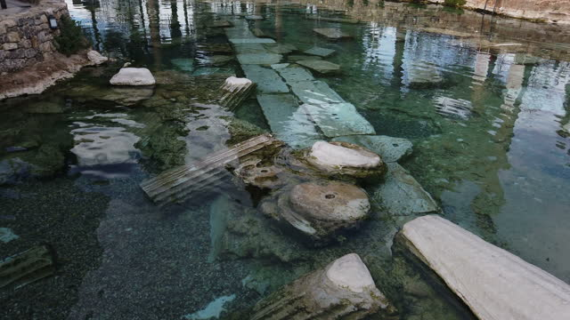 cleopatra's ancient pool in pamukkale, turkey - arch stock videos & royalty-free footage