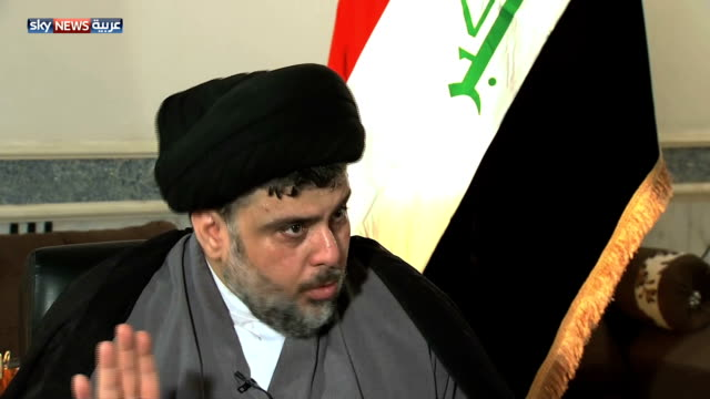 cleric muqtada al sadr commenting on international intervention no i do not favor the interference of any of the occupying states as for other... - muqtada al sadr stock videos & royalty-free footage