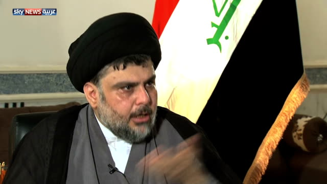 cleric muqtada al sadr commenting on saudi role in the region sectarianism spread beyond iraq and syria… reaching egypt libya bahrain and even the... - muqtada al sadr video stock e b–roll