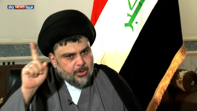 cleric muqtada al sadr commenting on sunni extremists i said it in a previous interview we will reach a situation where the moderates will fall into... - muqtada al sadr stock videos & royalty-free footage