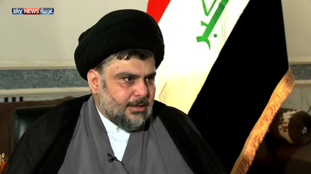 cleric muqtada al sadr commenting on the former prime minister of iraq nouri al maliki no it was not a mistake he did it on purpose many thought that... - muqtada al sadr video stock e b–roll