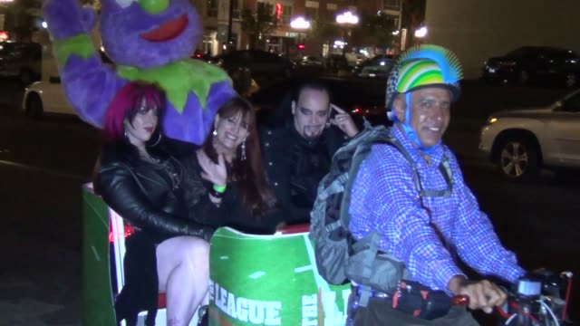 Cleve Hall Constance Hall and Sonia MaddoxHall from the 'Monster Man' cast take a bike taxi at Celebrity Sightings ComicCon International 2013 Cleve...