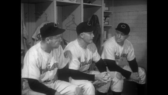 cleveland indians manager al lopez confers with his coaches in the locker room - spring training stock videos & royalty-free footage
