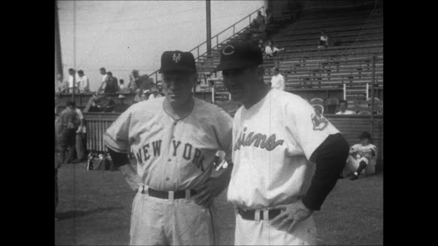 cleveland indians / new york giants spring training game fans in the grandstand al lopez talking with leo durocher hank greenberg jim lemon - spring training stock videos & royalty-free footage
