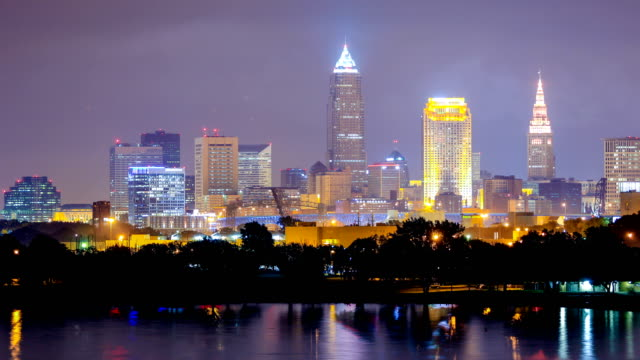 cleveland, ohio skyline - cleveland stock videos and b-roll footage