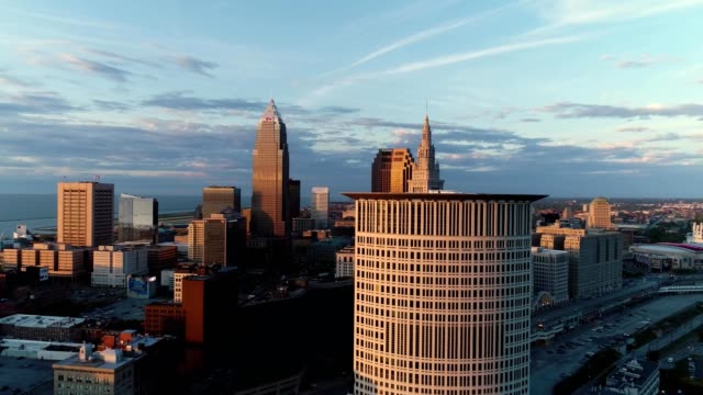 cleveland skyline during sunset, ohio - cleveland ohio stock videos and b-roll footage