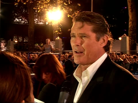 'click' film premiere: interviews; david hasselhoff interview sot - talks about enjoying work and his 'girls' / talks about ingredients that made... - david hasselhoff stock videos & royalty-free footage
