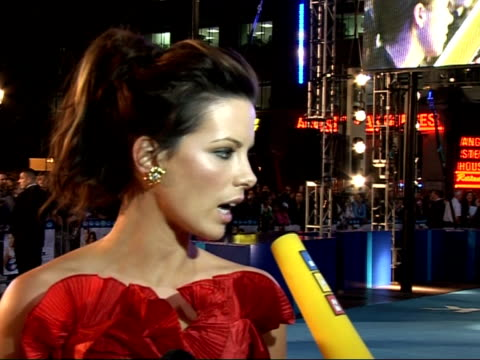 'click' film premiere: interviews; kate beckensale interview sot - would have changed my bottom but my husband likes it so have to keep it the same/... - david hasselhoff stock-videos und b-roll-filmmaterial