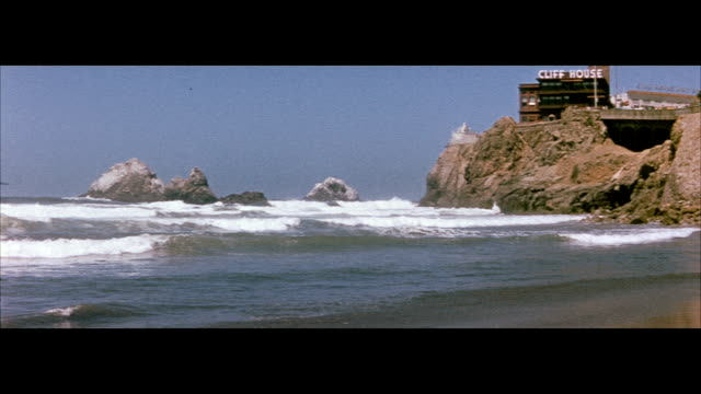 1955 cliff house and seal rocks in san francisco - 1950 stock videos & royalty-free footage