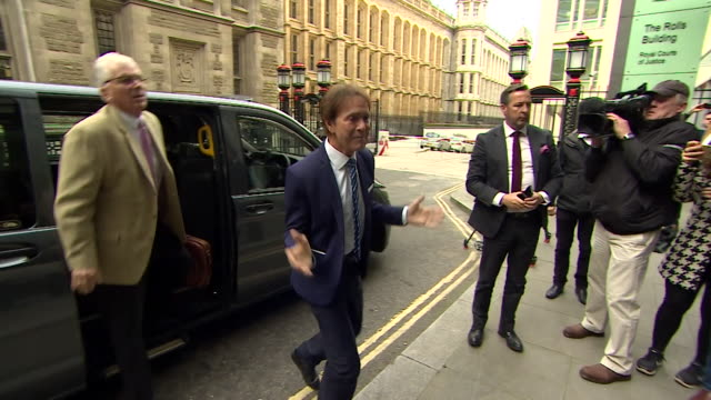 cliff richard arriving at court after suing the bbc for invasion of privacy - courthouse stock videos & royalty-free footage