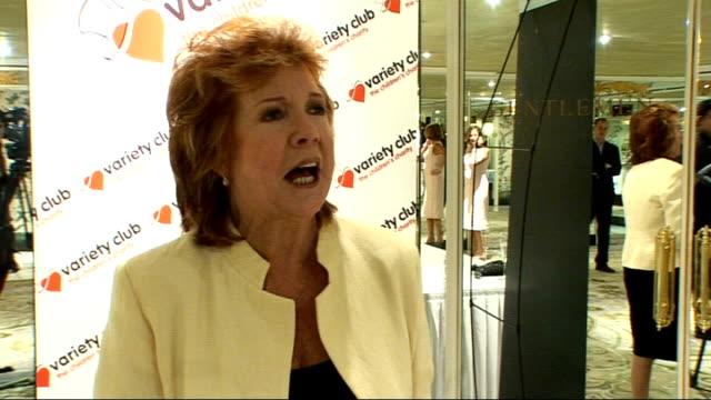 celebrity interviews dame cilla black interview sot tests out sound levels by shouting 'it's cilla here surprise surprise' and calling out to friend... - cliff richard stock videos and b-roll footage