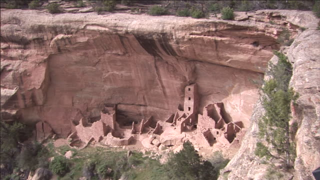 cliff tower over cliff palace in mesa verde national park. - mesa verde nationalpark stock-videos und b-roll-filmmaterial