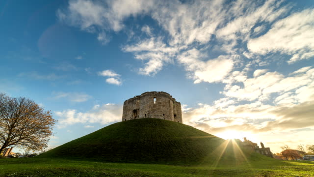 t/l clifford's tower, york | english heritage - yorkshire england stock videos & royalty-free footage