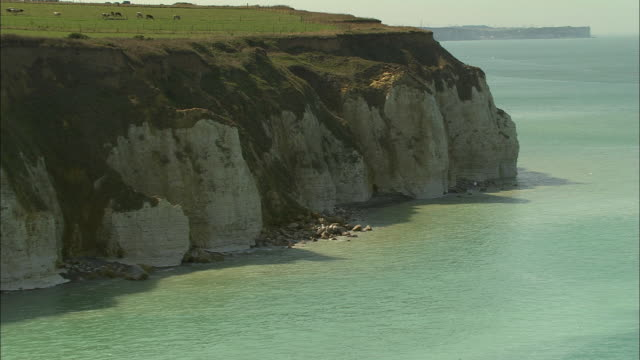 AERIAL, Cliffs and fields along coast, Dieppe, Haute-Normandie, France