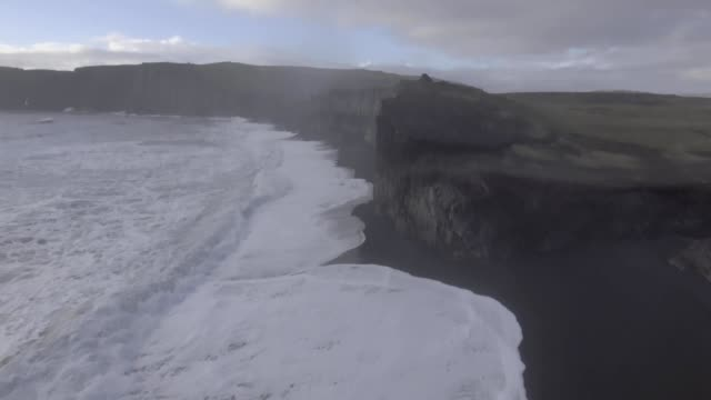 cliffs and shores of south dyrholaey iceland - dyrholaey stock videos & royalty-free footage