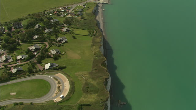 aerial, cliffs and town along coast, dieppe, haute-normandie, france - normandie stock-videos und b-roll-filmmaterial