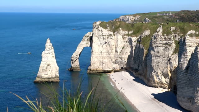 cliffs at étretat in normandie - normandy stock videos and b-roll footage