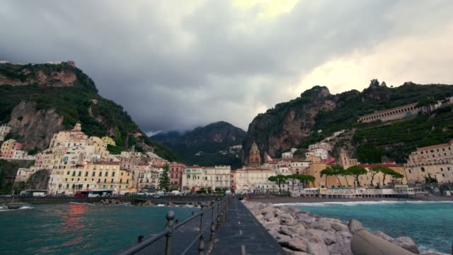 cliffs & facade of amalfi, province of salerno, italy - 岩肌点の映像素材/bロール