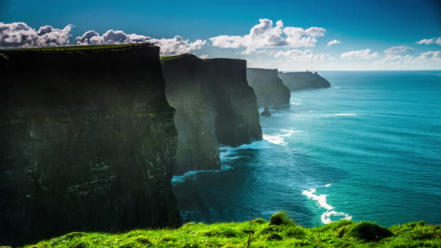 cliffs of moher, county clare, wild atlantic way route, ireland - doolin stock videos & royalty-free footage