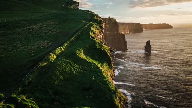 cliffs of moher in ireland - aerial shot - perfection stock videos & royalty-free footage