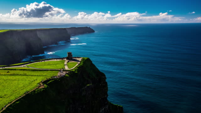 cliffs of moher in ireland - aerial - dramatic landscape stock videos and b-roll footage