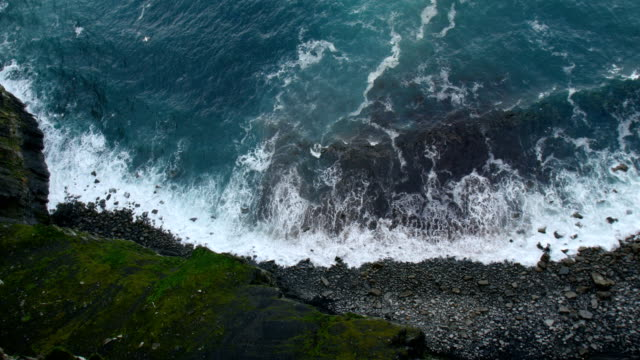 Cliffs of Moher -vertical view from top of the cliff towards the sea down below