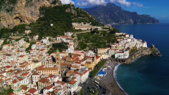 cliffside houses and harbour, amalfi, amalfi coast, italy - italian culture stock videos & royalty-free footage