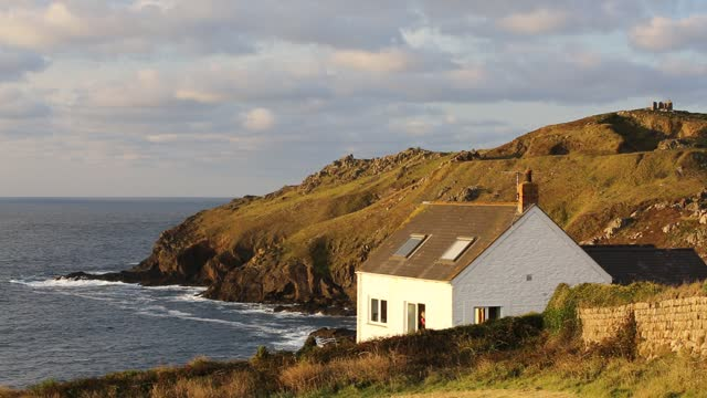 clifftop house at cape cornwall, st just, cornwall, uk. - at the edge of stock videos & royalty-free footage