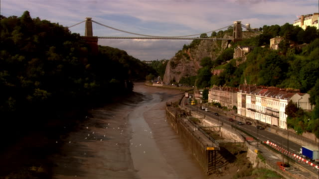 low aerial, clifton suspension bridge, bristol, england - bristol england stock videos & royalty-free footage