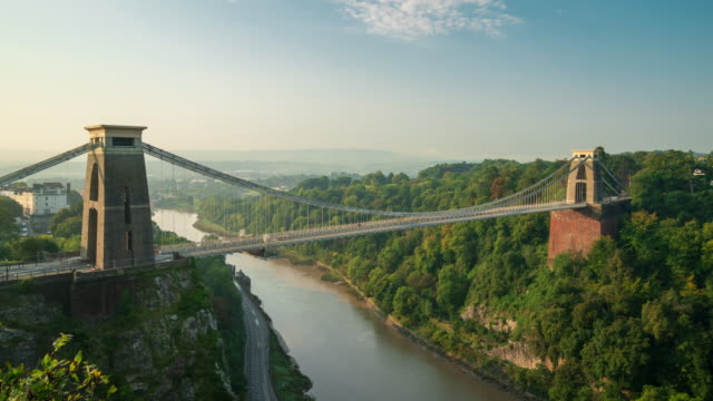 clifton suspension bridge in bristol, south west england, 4k time-lapse - bristol england stock videos & royalty-free footage
