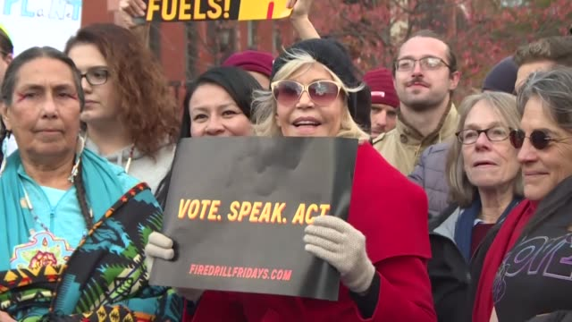 climate activist jane fonda takes part in a fire drill friday march - fire drill stock videos & royalty-free footage