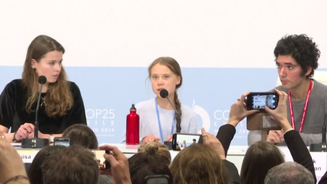 climate activists gather in madrid for a fridays for future press conference alongside teen climate activist greta thunberg urging action to mitigate... - environmentalist stock videos & royalty-free footage