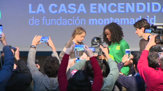 climate change activist greta thunberg holds a press conference before taking part in a climate march greta thunberg arrived in lisbon from new york... - climate activist stock videos & royalty-free footage