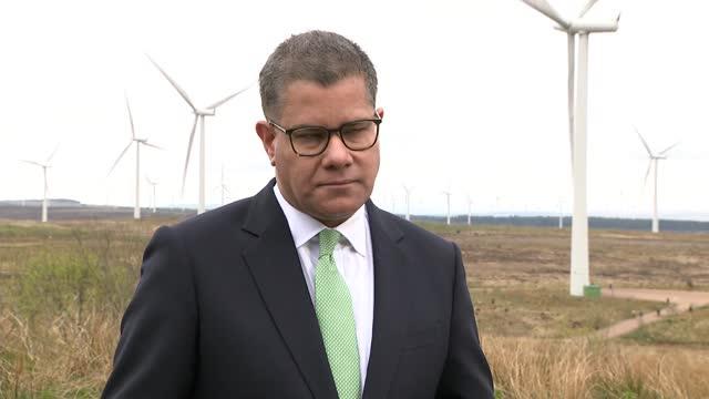 alok sharma speech at whitelee windfarm ahead of cop26; scotland: eaglesham: whitelee windfarm: ext alok sharma mp speech sot. - we must also deal... - imagination stock videos & royalty-free footage
